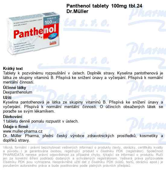 DR.MULLER Panthenol tablety 100mg tbl.24  d9c404c0a9f